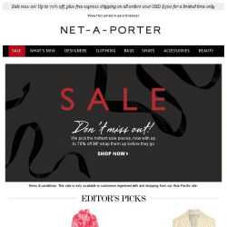 [NET-A-PORTER] The sale stars we love – now up to 70% off