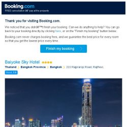 [Booking.com] You're so close! Don't lose your stay at Baiyoke Sky Hotel