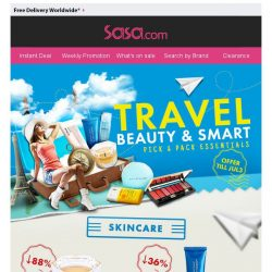 [SaSa ] 【Travel Beauty & Smart】Pick & Pack Essentials Up to 88% OFF!