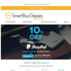 [SmartBuyGlasses] [24 hours only] 10% OFF Sitewide with PayPal 🌟