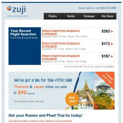 [Zuji] 5 Days, 2 Countries: BIG SALE fr $90 (return)!