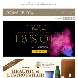 [COSME-DE.com] Last Day:18% Off Sitewide + Beauty Addicts' Offers