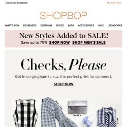 [Shopbop] Our new markdowns are going fast + Gingham and more gingham