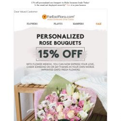 [FarEastFlora] Last 2 Days To Enjoy 15% Off Personalize Rose Bouquets