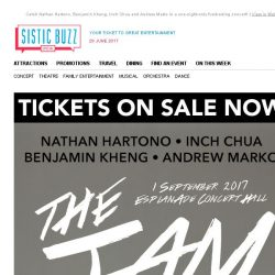 [SISTIC] Catch Nathan Hartono, Benjamin Kheng, Inch Chua and Andrew Marko in a one-night-only fundraising concert!