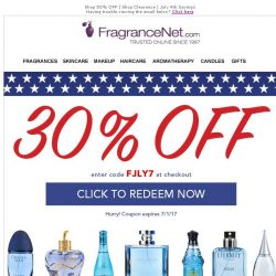 [FragranceNet] July 4th ★ CLEARANCE ★ Up to 80% off + an EXTRA 30% off!