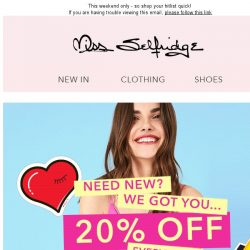 [Miss Selfridge] 20% off starts RIGHT NOW