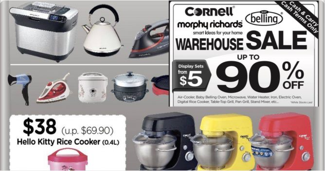 Cornell: Warehouse Sale with Up to 90% OFF Home Appliances & Kitchen