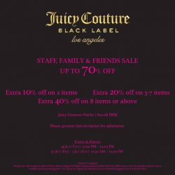 [IMM] From today to 2 July, Juicy Couture Outlet will be having their Staff, Family & Friends Sale at IMM Outlet Mall,