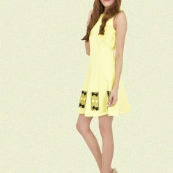 [MOONRIVER] Lollie Drop Waist Dress - Happiness is wearing a yellow dress.