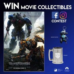 "[Cathay Cineplexes] Stand to win TRANSFORMERS""THE LAST KNIGHT Sqweeks Keychain and Drinkware!"