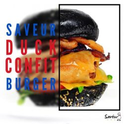 [Saveur Art] Charcoal buns, crispy bacon, fried onion rings and melted cheese, the perfect burger ingredients adorned on our signature duck confit,