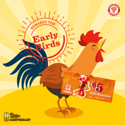 [Popeyes Louisiana Kitchen Singapore] The early bird doesn't get the worm, it gets a $5 Popeyes Voucher* with the purchase of two Reward