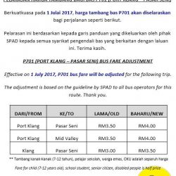 [CAUSEWAY LINK BY HANDAL INDAH] P701 (PORT KLANG – PASAR SENI) BUS FARE ADJUSTMENTEffective on 1 July 2017, P701 bus fare will be adjusted for