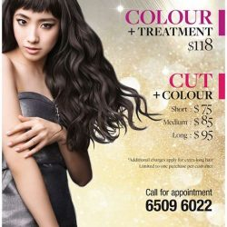 [Crème Hairdressing] PROMOTION (City Square Mall Salon only)LOREAL COLOR + Treatment : $118LOREAL COLOR + Cut : Short $75, Medium $85, Long : $95.