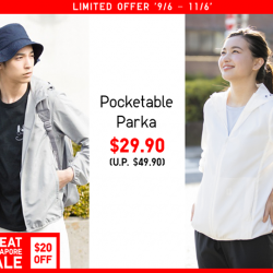 [Uniqlo Singapore] Our Pocketable Parka has a durable water-repellent coating - ideal for sports and other outdoor activities.