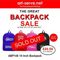 [Artserve Personalised Gift Shop] Due to the Tremendous Response for our backpacks during the GREAT SINGAPORE SALE, the 14 inch backpacks are now Temporarily