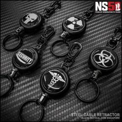 [Black-Tactical.com] Stainless Steel Cable Retractor for your Ops Room / Armskote Keys.
