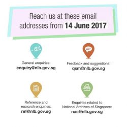 [Bukit Batok Community Library] Our old email addresses are no longer in use, so make sure you save these new ones!
