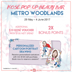 [Metro] Swing by the KOSÉ pop-up beauty bar at Metro Woodlands (Level 1 Atrium) from now till 4 Jun and