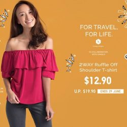 [Uniqlo Singapore] Stay trendy and comfortable while travelling with our versatile Women's 2WAY Ruffle Off Shoulder T-shirt.