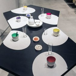 [Chilewich] Try pairing neutral placemats with bright colorful dishware to make your pieces really pop.
