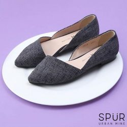 [SPUR] Next featured sale served up to you on a platter: Grey asymmetrical pointed d'orsays.