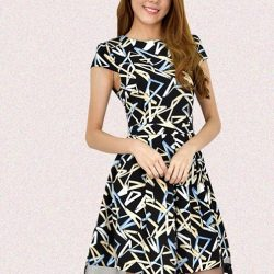 [Tsubaki] Kylie Printed Fit and Flare Dress - Dress to express.