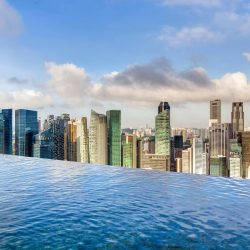 [Marina Bay Sands] A swim in the sky overlooking the Singapore skyline is certainly an unbelievably good idea.