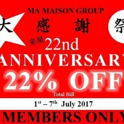 [Ma Maison Restaurant Singapore] Dear Ma Maison Members, Thank you for your support all this years.