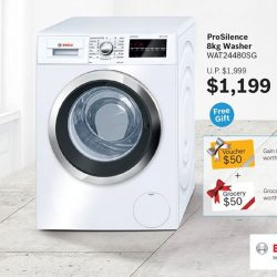 [Gain City] Enjoy big savings and free shopping vouchers worth $100 when you purchase a Bosch ProSilence 8Kg Washer at only $1199 (