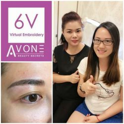 [AVONE BEAUTY SECRETS] Dearest customer Iris Cheong is very pleased with her ABS 6V Korean Virtual Brows Embroidery results skilfully presented by our