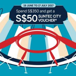 [American Express] From 19 June – 17 July, spend S$350 with your Amex card and get a S$50 Suntec City voucher.