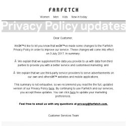 [Farfetch] Updates to our Privacy Policy