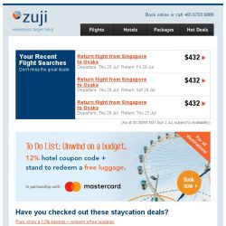 [Zuji] Staycation deals fr $128 + 12% hotel coupon code.