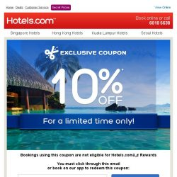 [Hotels.com] [STARTS TODAY] Get an extra 10% off