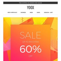 [Yoox] Sale up to an EXTRA 60% off