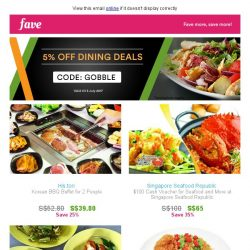[Fave] Get extra 5% OFF on dining deals with our code here!