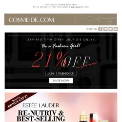 [COSME-DE.com] Revamp You Skin Care Routine With 21% Off Sitewide!