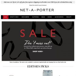 [NET-A-PORTER] Best of sale: Enjoy up to 70% off our editor's favorite pieces now