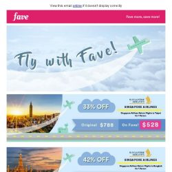 [Fave] Fly with Fave: Unbeatable flight deals to Taipei, Bangkok & more!