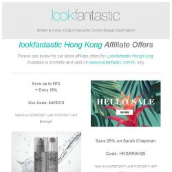 [The Hut] Lookfantastic Hong Kong Weekend Affiliate Offers