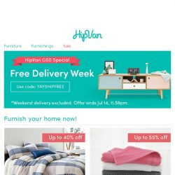 [HipVan] Don't miss out on HipVan's free delivery week! 🎉🎉🎉