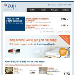 [Zuji] Extra 10% off Bangkok hotels and more!