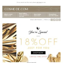 [COSME-DE.com]  You're Special! 18% off on your order! 4 DAYS ONLY! Shop Now!