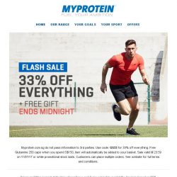 [MyProtein] 24 Hour offer: 33% off everything + FREE S$46.99 gift!
