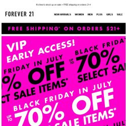 [FOREVER 21] EARLY ACCESS! Up to 70% off now!