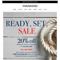 [Mankind] Today only | 20% off SALE plus a free gift