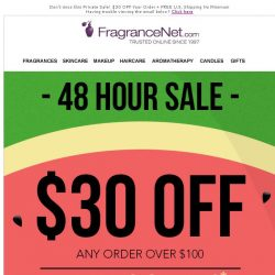 [FragranceNet] Your Exclusive Invitation: Private Sale - Extra $30 OFF + Free Shipping!