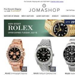 [Jomashop] Rolex • Swatch • Fortis • Burberry • Invicta